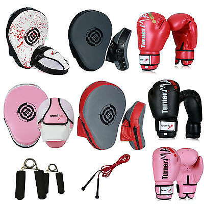 TurnerMAX Boxing Pads Focus Hook and Jab with Punching Boxing Gloves and Pads Set Training MMA