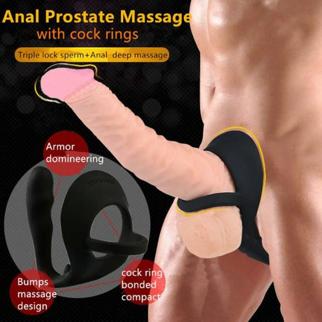 Silicone Prostate Massager P Spot Butt Plug Cock Ring Anal Dildo Men Sex Toys AU