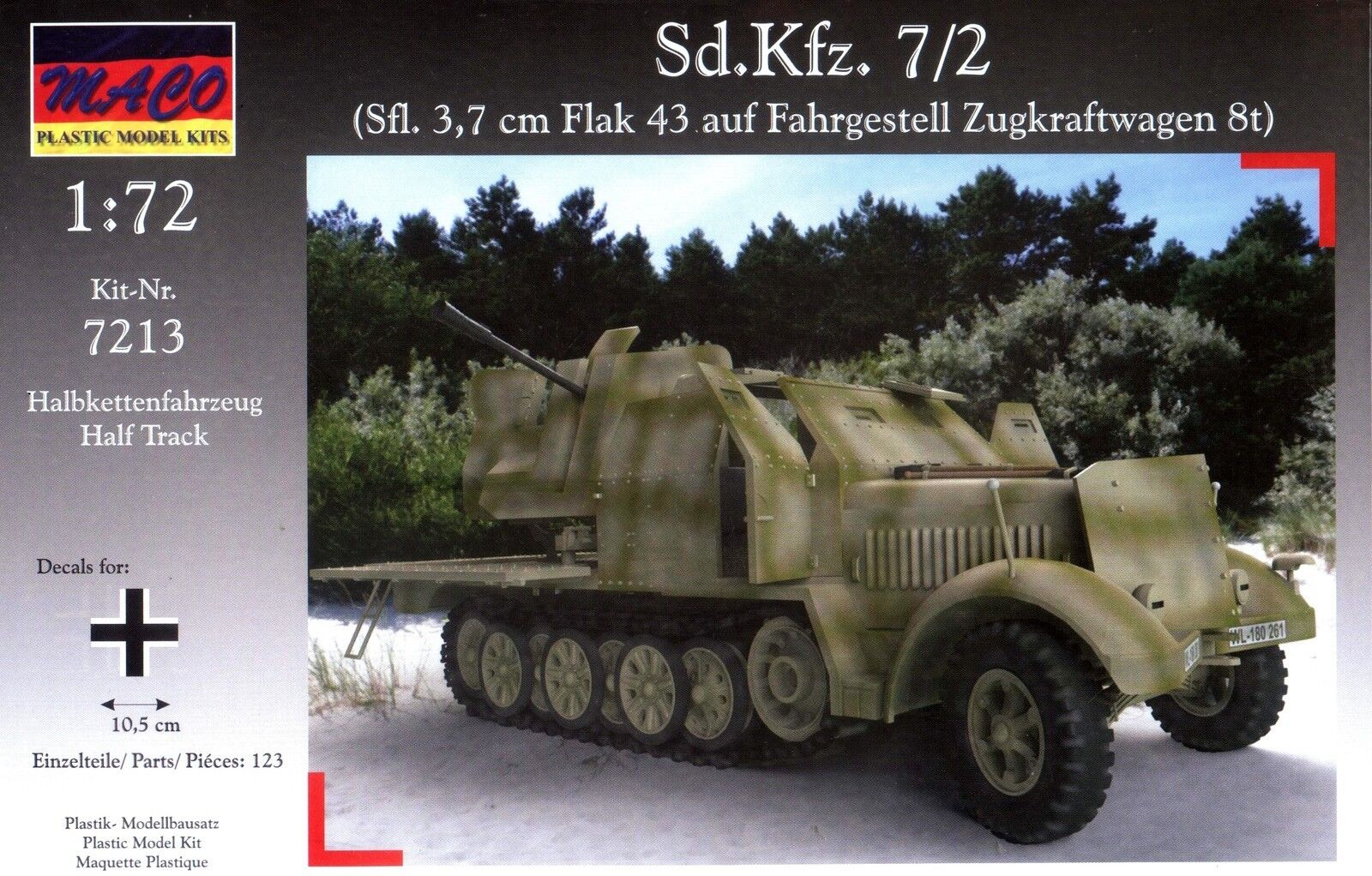 MACO 1 72 7213 WWII German Sd.Kfz.7 2 3.7cm Flak 43 Self-Propelled AA Gun