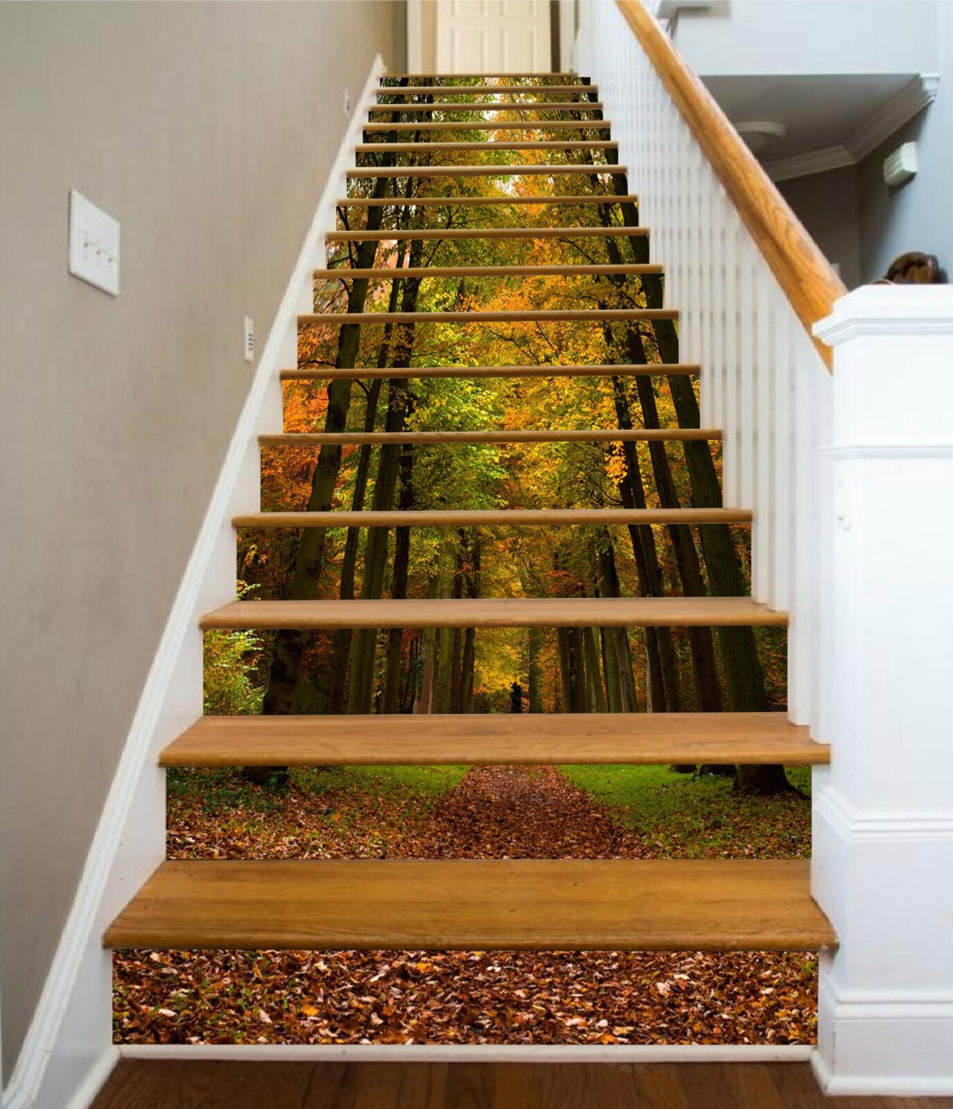 3D Herbst Waldweg 1 Stair Risers Dekoration Fototapete Vinyl Aufkleber Tapete DE