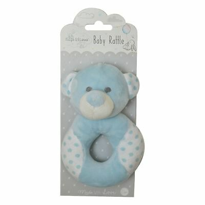 Hugs & Kisses Baby Boy Rattle Blue Teddy Bear Super Soft Plush Newborn Babies Delicacies Loved By All