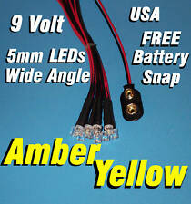 10 Led 5mm Pre Wire Leds 9 Volt Wide Amber Yellow Prewired 9v