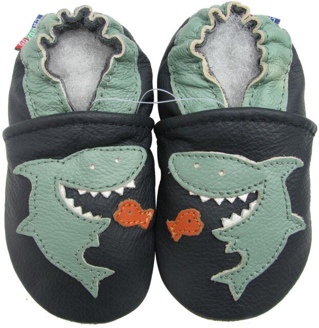 carozoo shark dark blue 6-12m soft sole leather baby shoes