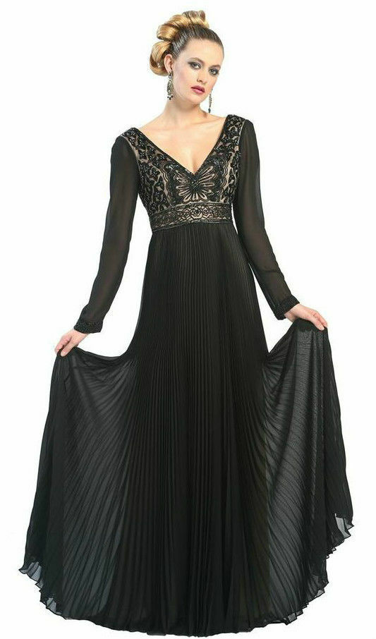 Sue Wong Navy Embellished Pleated Crepe Elegant Formal Gown Dress .NWT Sz.0