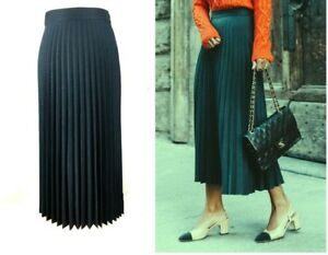 adc30f13fe ZARA BLUE GREEN ACCORDION PLEATED MIDI SKIRT XS L 6 12 14 34 42 | eBay