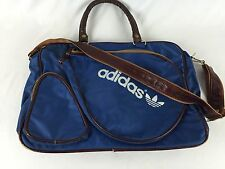 Vintage Adidas 70s/80s Tennis Racquetball Sports Bag Blue Faux Leather