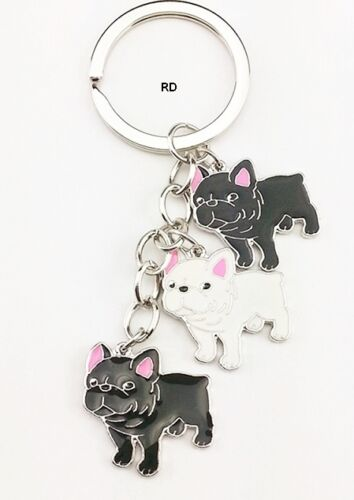 French Bulldog Lovers Key Chain or Purse Charm 3 Bulldogs 2 Colors CLEARANCE