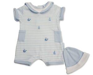 Baby Boys Romper Sailor Blue Striped Hat Nautical Whale Summer Newborn 0 3 M 72