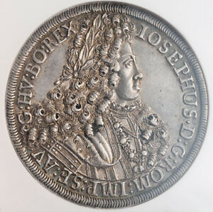 1706, Austria, Emperor Joseph I. Large Silver Thaler Coin. Hall mint! NGC AU-55!