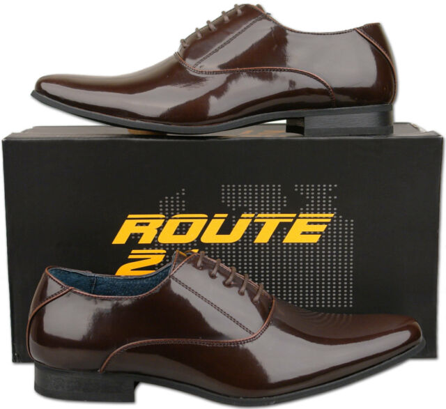 Mens New Brown Lace Up Leather Lined Patent Wedding Shoes Size 6 7 8 9 10 11 12