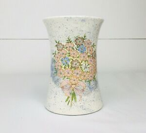 Vintage Handmade Vase Flowers Floral Ceramic Pottery Porcelain
