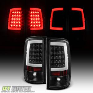 Black 2007-2013 GMC Sierra 1500 2500HD 3500HD LED Tube Tail Lights Brake Lamps