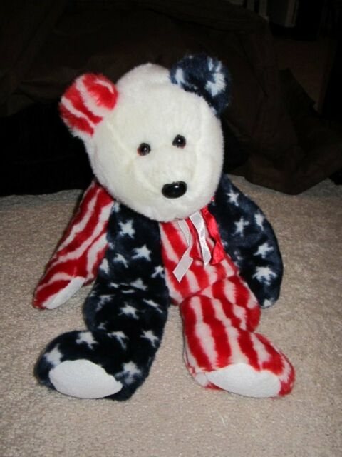 1999 TY Beanie Buddies Spangle the Bear Plush Stuffed Toy retired 15 ... cf78f1aac3d5