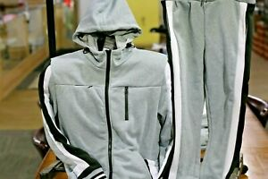 Big-and-Tall-Men-039-s-Jogging-Fashion-Track-Jacket-amp-Pants-Grey-White-and-Black