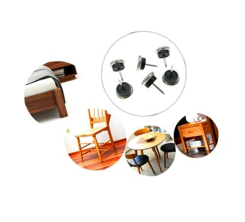 40pcs Furniture Chair Glide Nail-on Metal Case Slider Pad Floor Protector