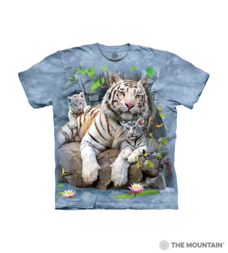 The Mountain Cotton Kids White Tigers of Bengal Blue Youth T-shirt S-M-L-XL NWT