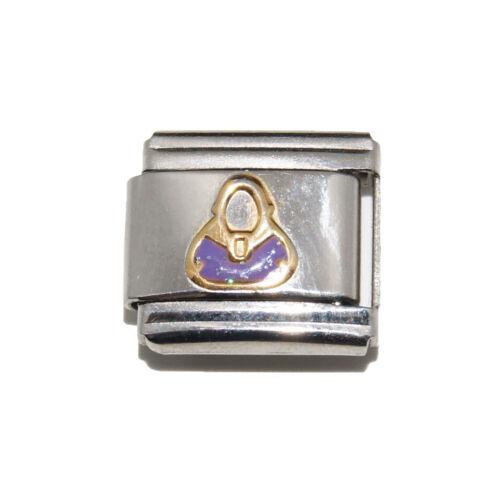 Purple Sparkly Handbag Italian Charm fits 9mm classic Italian charm bracelets