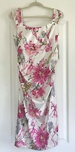 NWT-London-Style-Nights-Sz-12-Ivory-Pink-Satin-Floral-Dress