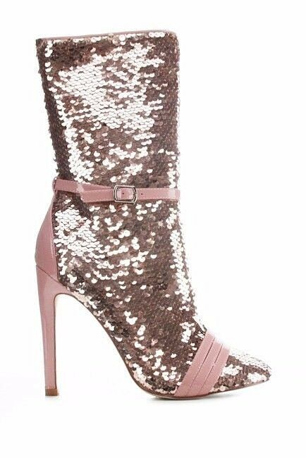 CR pink gold Almond Toe Sequin Ankle Boot Full Side Zipper 4  High Heels 6-11