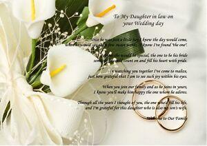 Détails Sur A4 Personnalisé Bienvenue à La Famille Poème Sur Le Jour De Votre Mariage De Inlaws Afficher Le Titre Dorigine