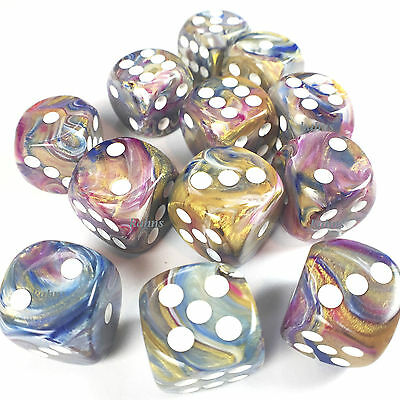 Chessex Dice Block of 12 d6 16mm - Festive Carousel w/ White 27640 Free Bag! DnD
