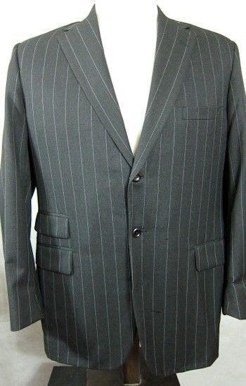 PRISTINE Tom James Holland & Sherry Wool Bespoke grau Stripe Suit 42L Dual Vents