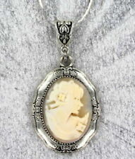 Vintage Antique Cameo Pendant Necklace in Silver Setting with Chain