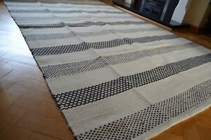 Image Is Loading Large Kilim Rug Reversible Diamonds Stripes Wool 150x240cm