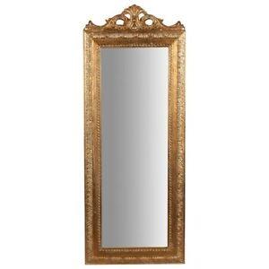 HonnêTe Specchio Specchiera Cornice Barocco Foglia Oro Resina Parete 35 X 90 Cm