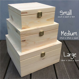 Details about Square Wooden Boxes Keepsake Decoupage Storage Box With Lid \u0026  Clasp Gift Box