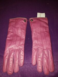 Retired nwt Coach Gloves Sz 6.5 Rose Leather w Cashmere Lined