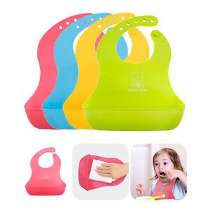 US Baby Soft Silicone Bib Adjustable Waterproof Saliva dripping Infant Lunch Bib