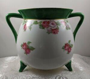 Vntg Footed Porcelain Pot Belly Planter Jardiniere Florals Table Sideboard Decor