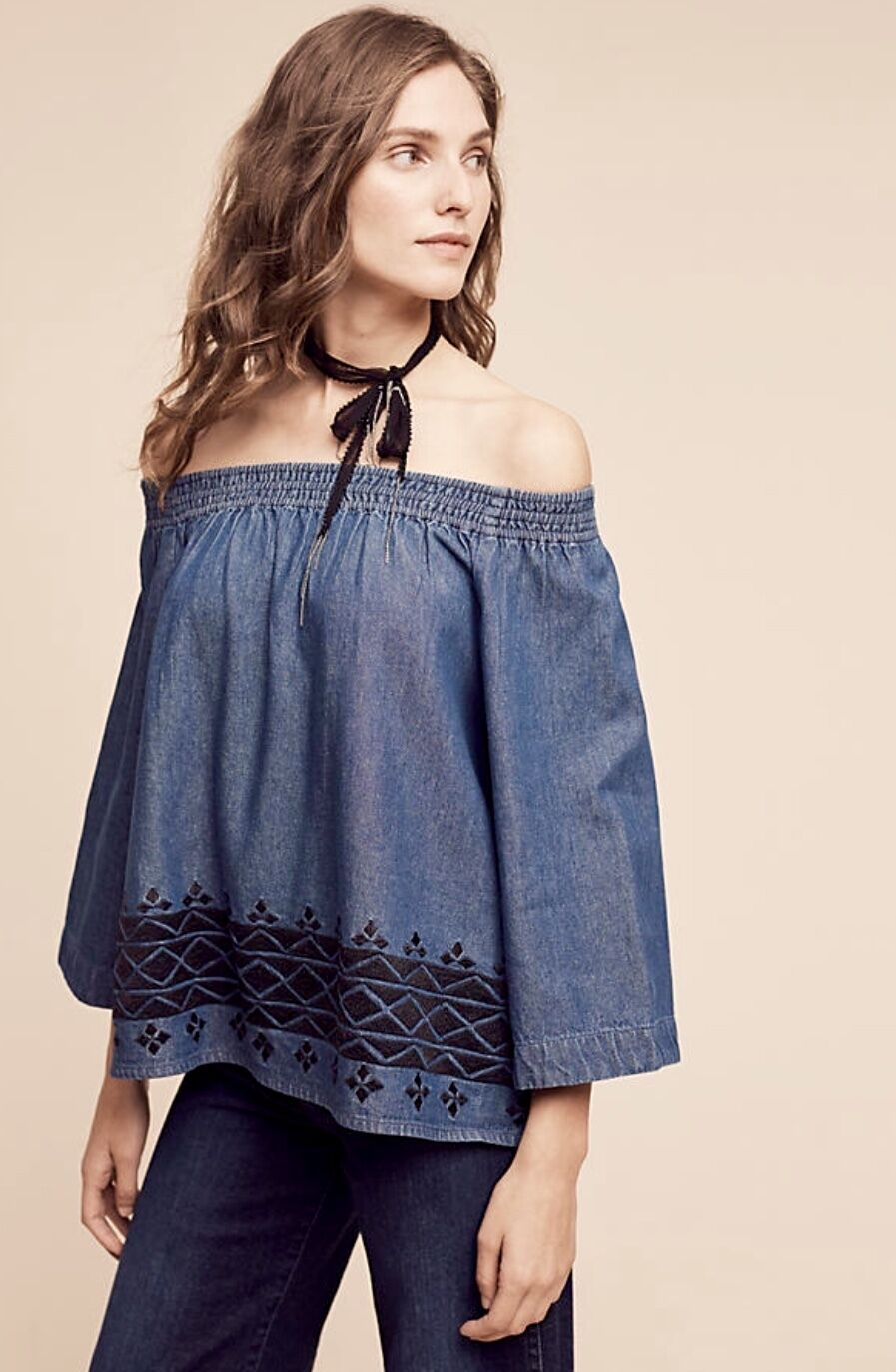 NWT Anthropologie Denim Off The Shoulder schwarz Embroiderot Swing Top M