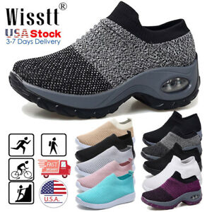 Womens-Air-Cushion-Sports-Running-Shoes-Mesh-Walking-Slip-On-Sneakers-Sock-Shoes