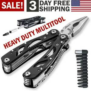Multi Tool Knife Pliers Saw Kit Folding Screwdriver +Bits Outdoor Camping Knives