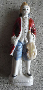 "Vintage Japan Porcelain Bisque Colonial Man with Violin Figurine 5"" Tall"
