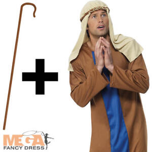 Shepherd Crook Mens Fancy Dress Christmas Nativity Play Joseph Adults Costume