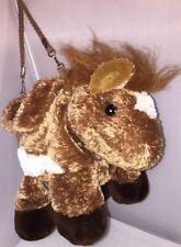 "HORSE PONY PURSE Bag Kids Children AURORA Plush Straps ZIPPERED POUCH 14"""