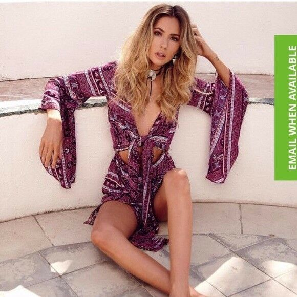 NWT gypsy bell sleeve front tie romper
