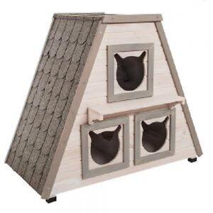 Cat-House-Shelter-Den-Wooden-Indoor-Outdoor-Three-Bed-Two-Tier-Garden-Home