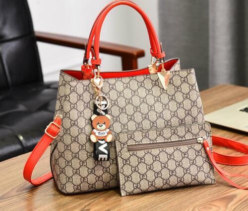 Ladies Fashion Designer Leather Handbag Tote Shoulder Bag Women/'s Briefcase 2Pcs