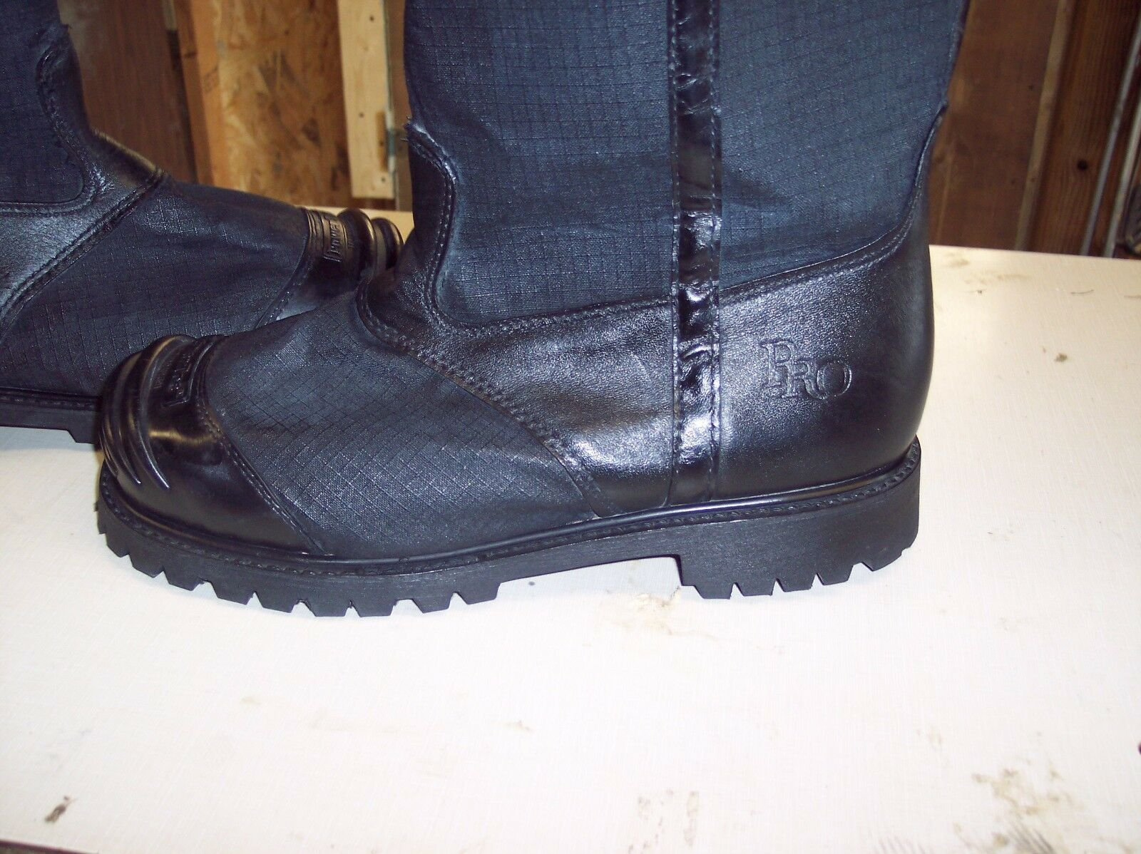 FIREFIGHTERS BOOTS  ACTUAL PICTURE  SIZE 11.5E ON SALE ONE WEEK 99.95