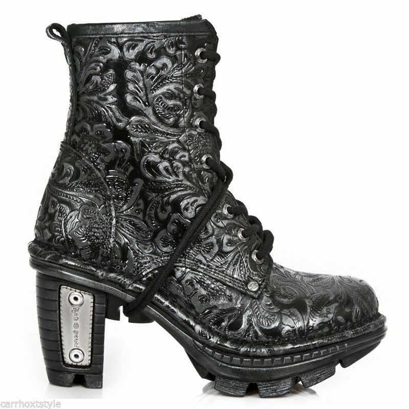 Newrock New Rock neotr008-s24 nero vintage stampa rock punk donna Stivali in pelle
