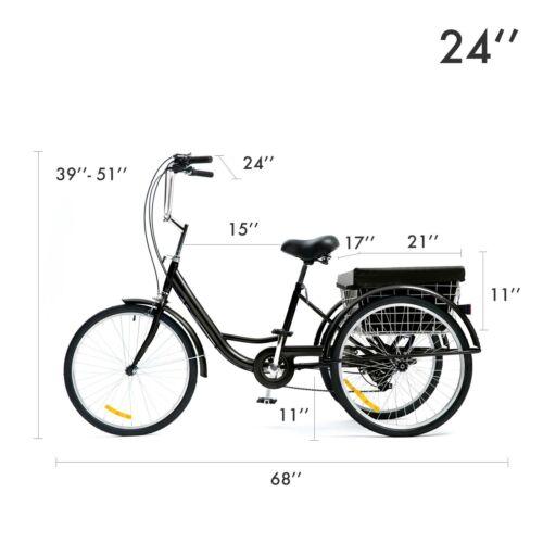 "26/""//24/""//20/"" 8 Speed Adult Tricycle Trike Cruise 3-Wheel Bike with Large Basket"