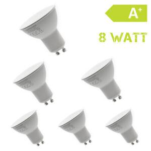 6er-Set-LED-GU10-230V-8-Watt-Warmweiss-Strahler-Lampe-Birne-Spot
