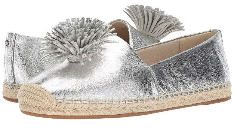 MICHAEL MICHAEL KORS WOMEN'S LOLITA METALLIC LEATHER LEATHER LEATHER ESPADRILLE FLATS SIZE 10 5ccb19
