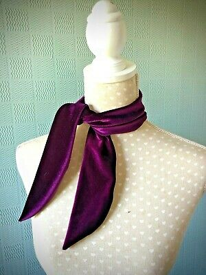 Purple velvet scarf hair tie up velvet hair wrap aubergine neckerchief grape tie