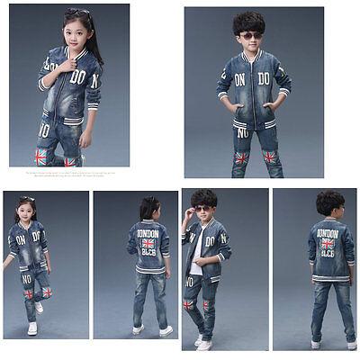 Jeans Unisex Per Bambini Set 2pc Giacca + Pantaloni Sport Tuta Tutina Taglia 3-16 Anni Deluxe-