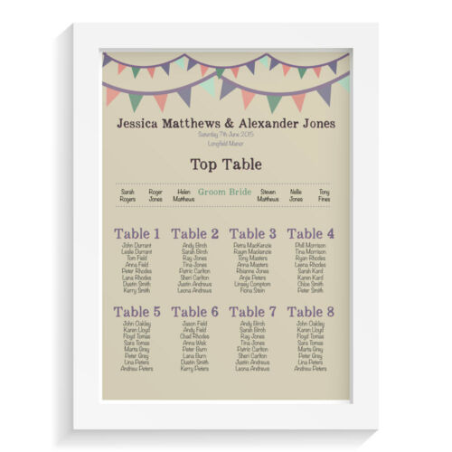 Personalised wedding table plan VINTAGE BUNTING retro vintage sign keepsake